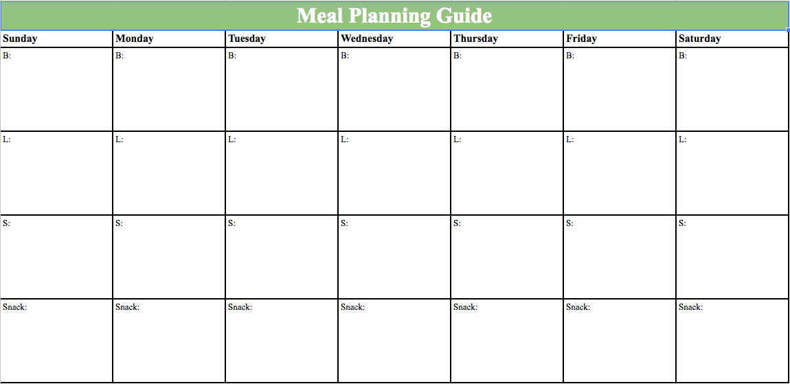 image of a meal plan worksheet