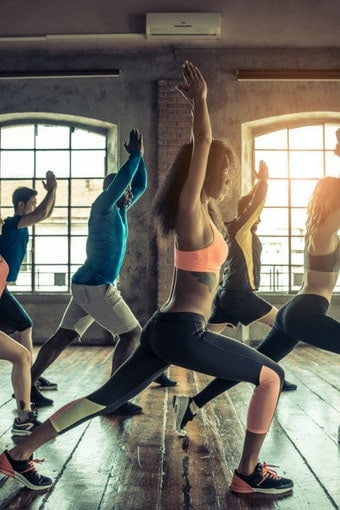 image of a yoga class
