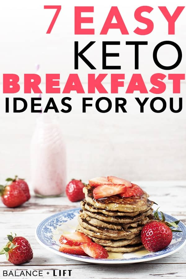 keto pancakes with strawberries on top and on the sides