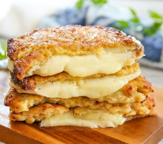 cauliflower grilled cheese on a cutting board