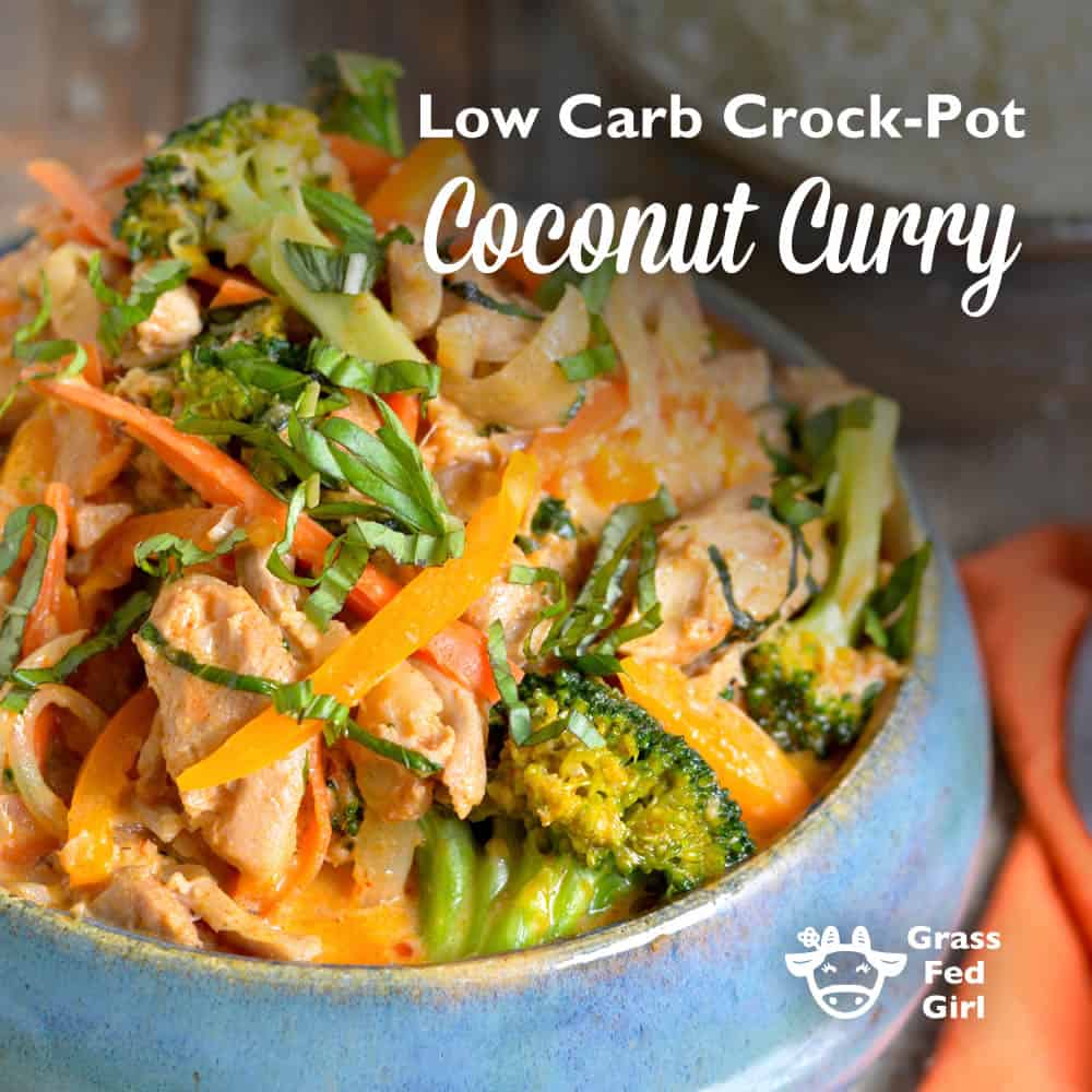low carb coconut curry with broccoli, carrots and orange peppers