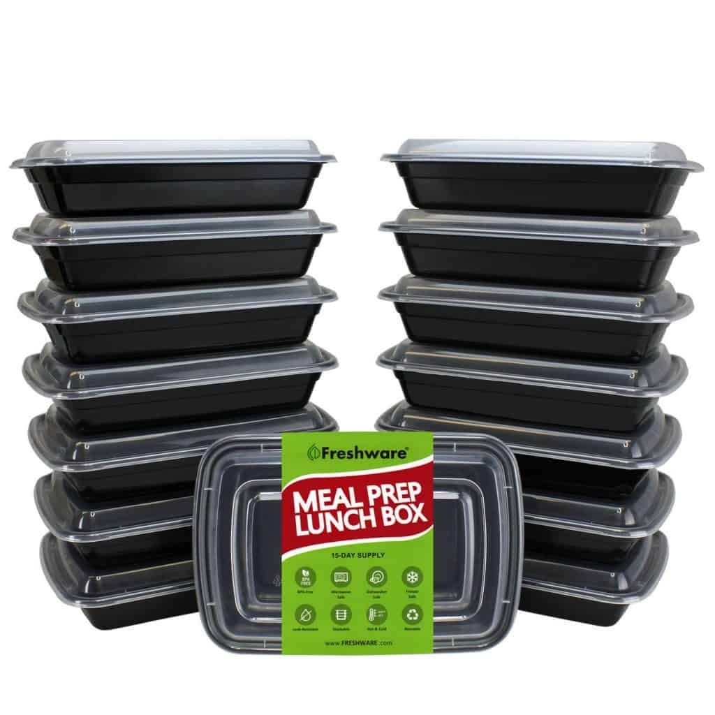1 section plastic meal prep containers