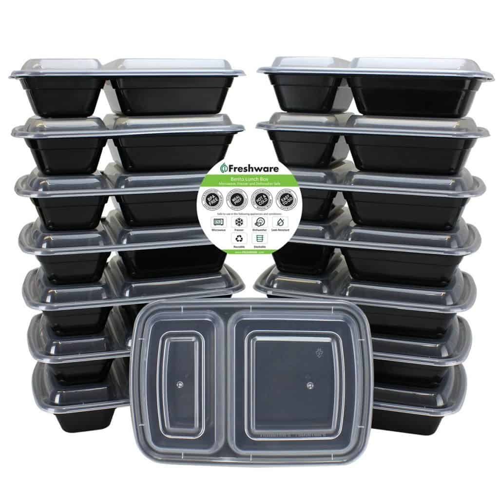 2 section plastic meal prep containers