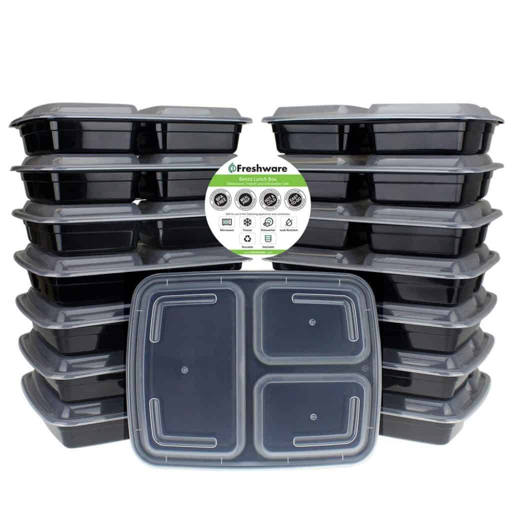 3 section plastic meal prep containers