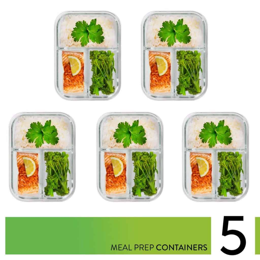 3 section glass meal prep containers