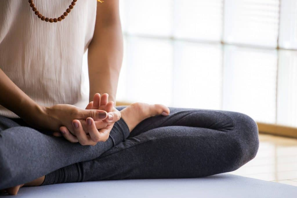 image of a woman meditating