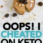 pancakes on a plate with blackberries - cheated on keto