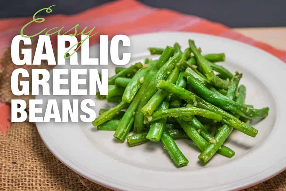 garlic green beans on a plate