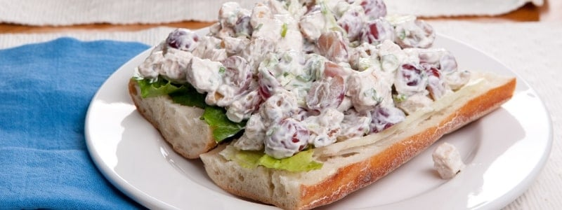 chicken salad on a hoagie roll