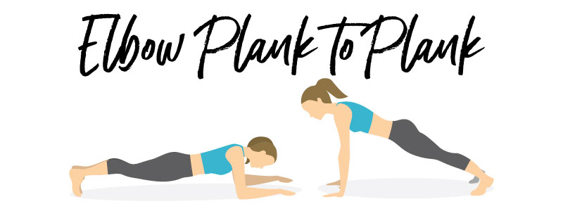 woman doing elbow plank to plank