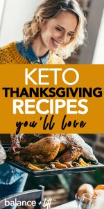 woman holding a roasted turkey - keto thanksgiving