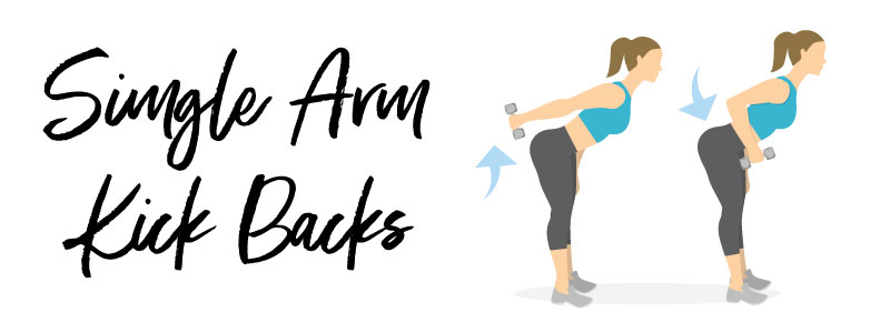 woman doing single arm kick backs