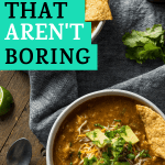 bowls of keto mexican chicken soup with keto tortillas