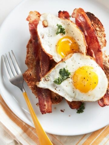plate of fried eggs, bacon and keto toast