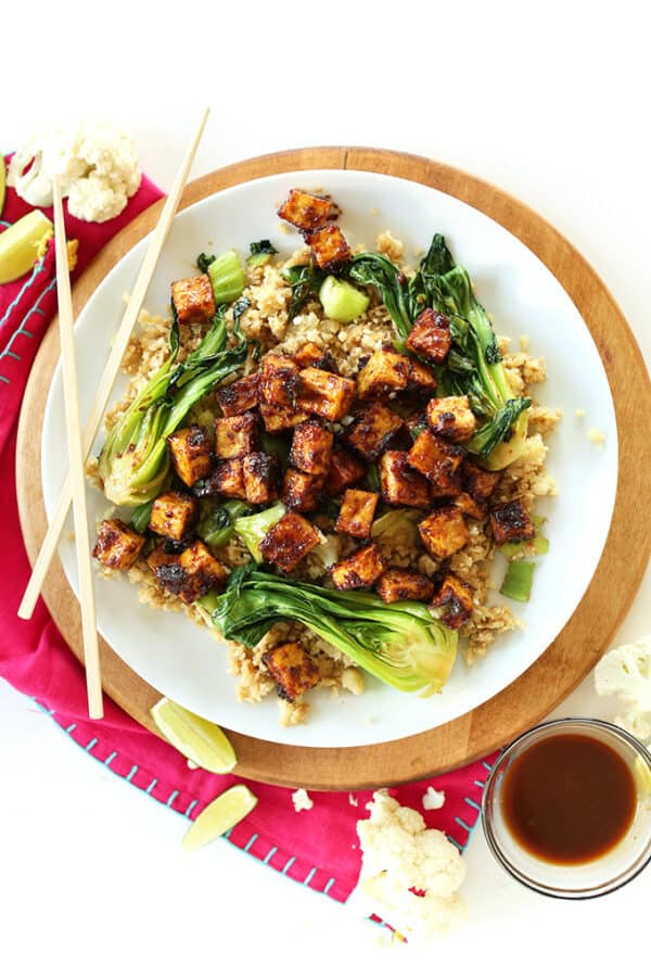 vegan keto crispy tofu and cauliflower fried rice