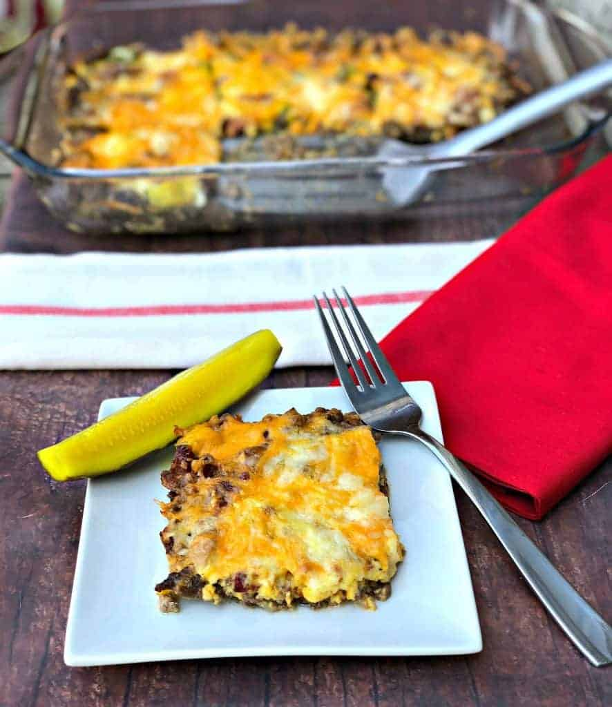 keto cheeseburger casserole and a pickle