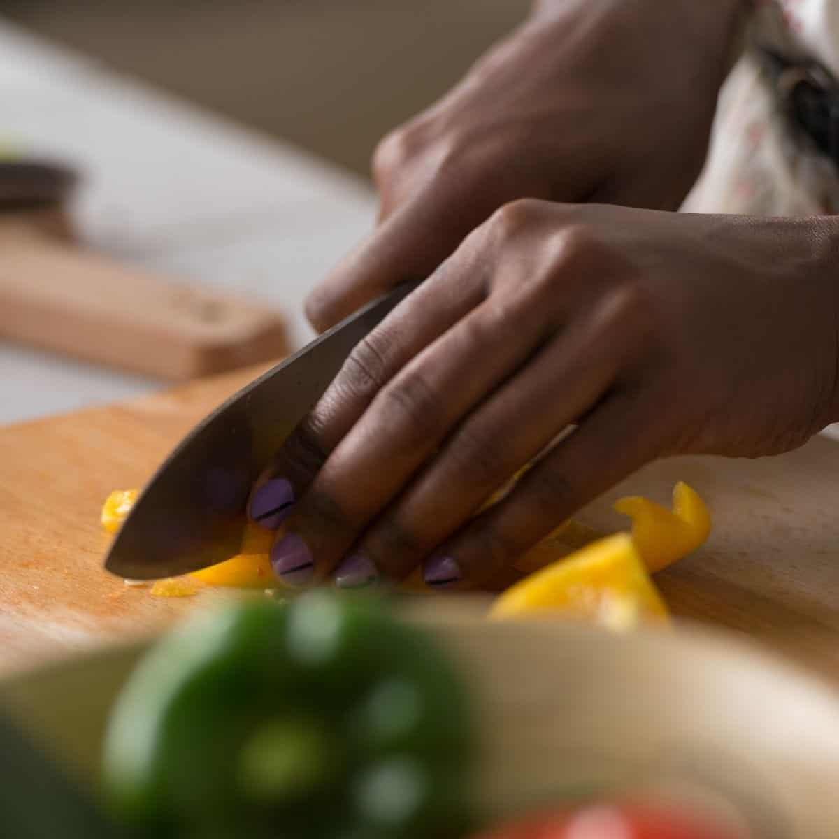 woman chopping food