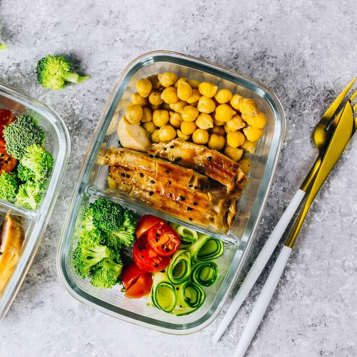 meal prep container with food