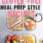 image of chicken meal prep with text overlay