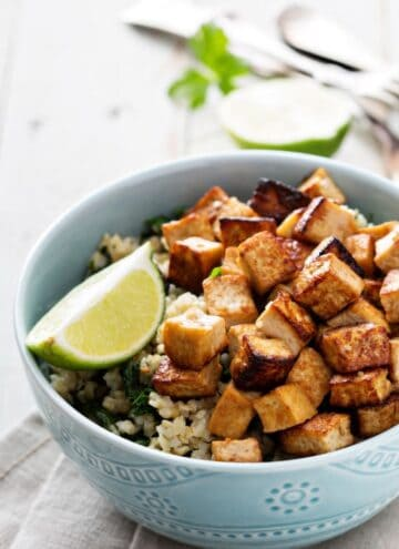 bowl of rice, tofu and veggies
