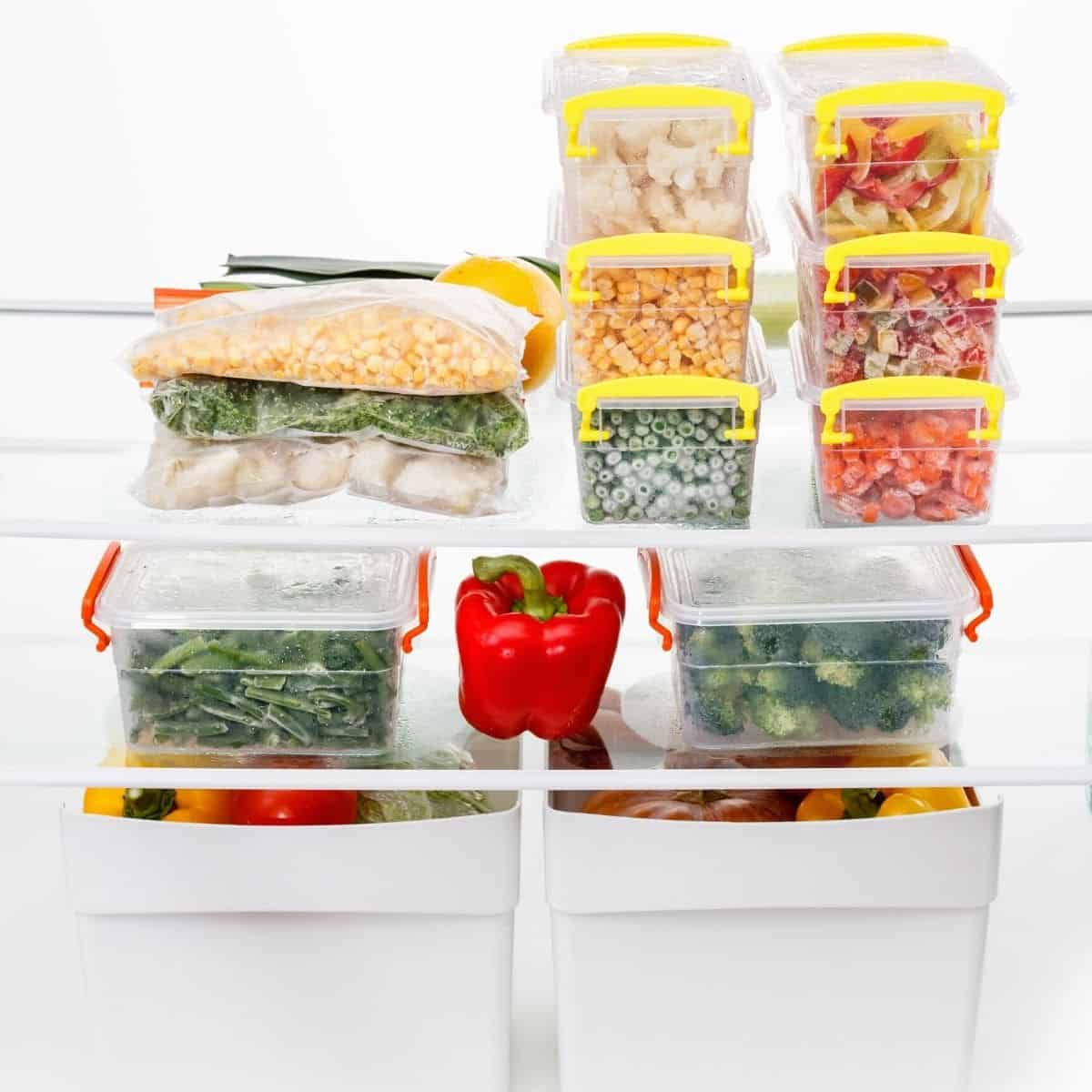 meal ingredients in a freezer