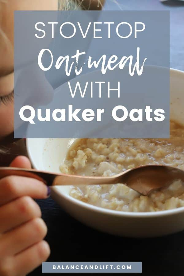 little girl eating stovetop oatmeal with quaker oats, cinnamon and maple syrup