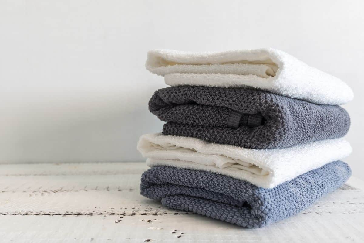 folded laundry after using homemade bleach alternative