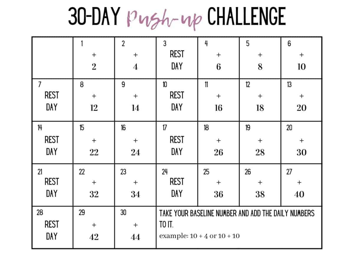 calender of a 30 day pushup challenge