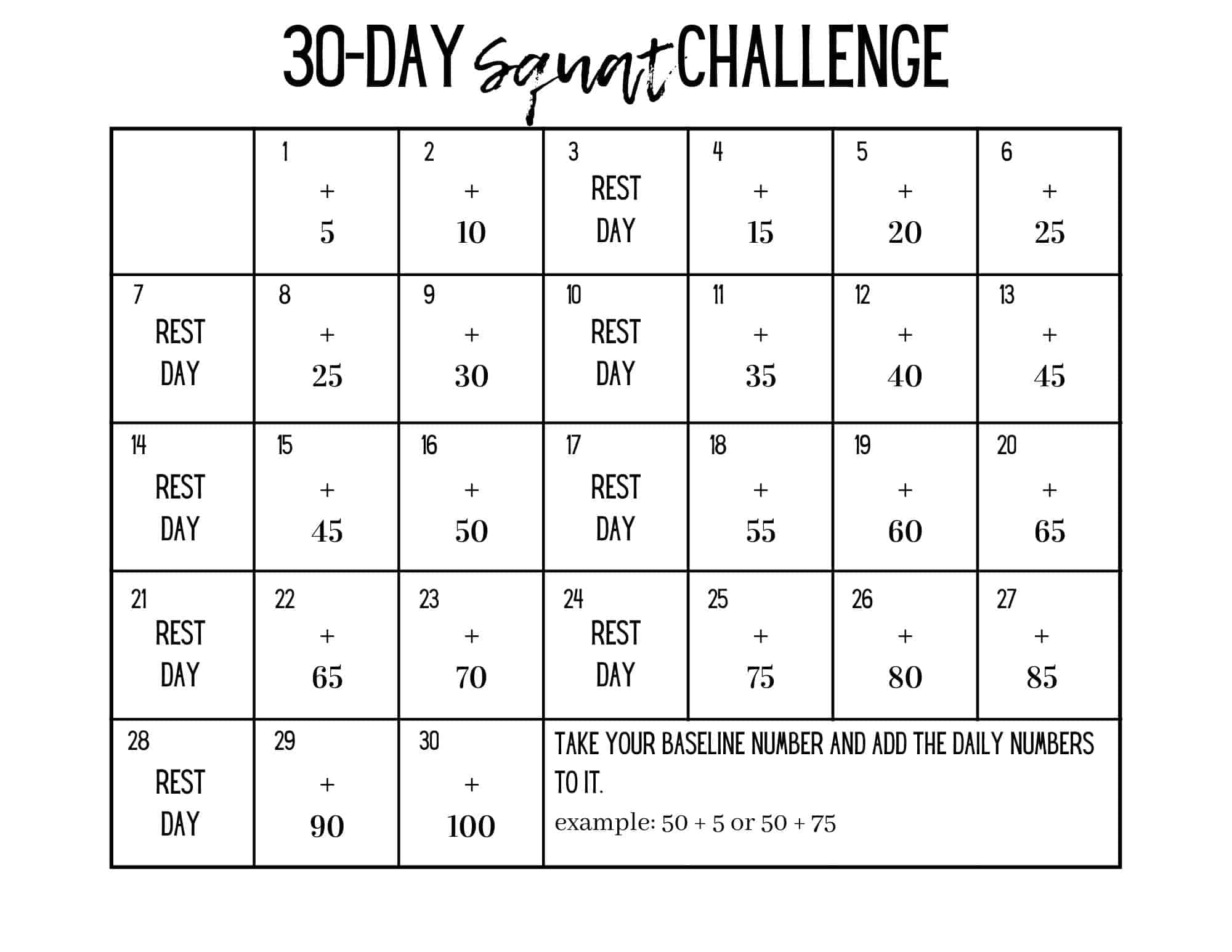 calendar of a 30-day squat challenge