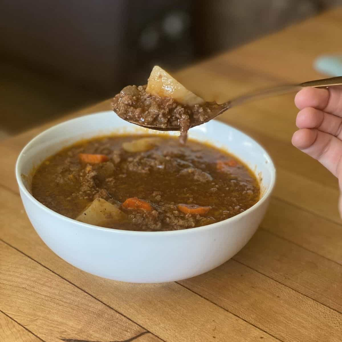bowl of hamburger soup