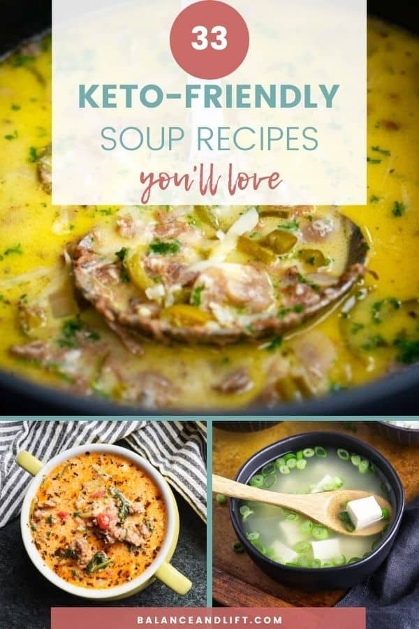 collage of keto-friendly soup recipes
