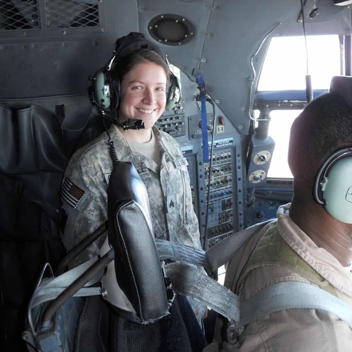 brianna nash in a c130 cockpit