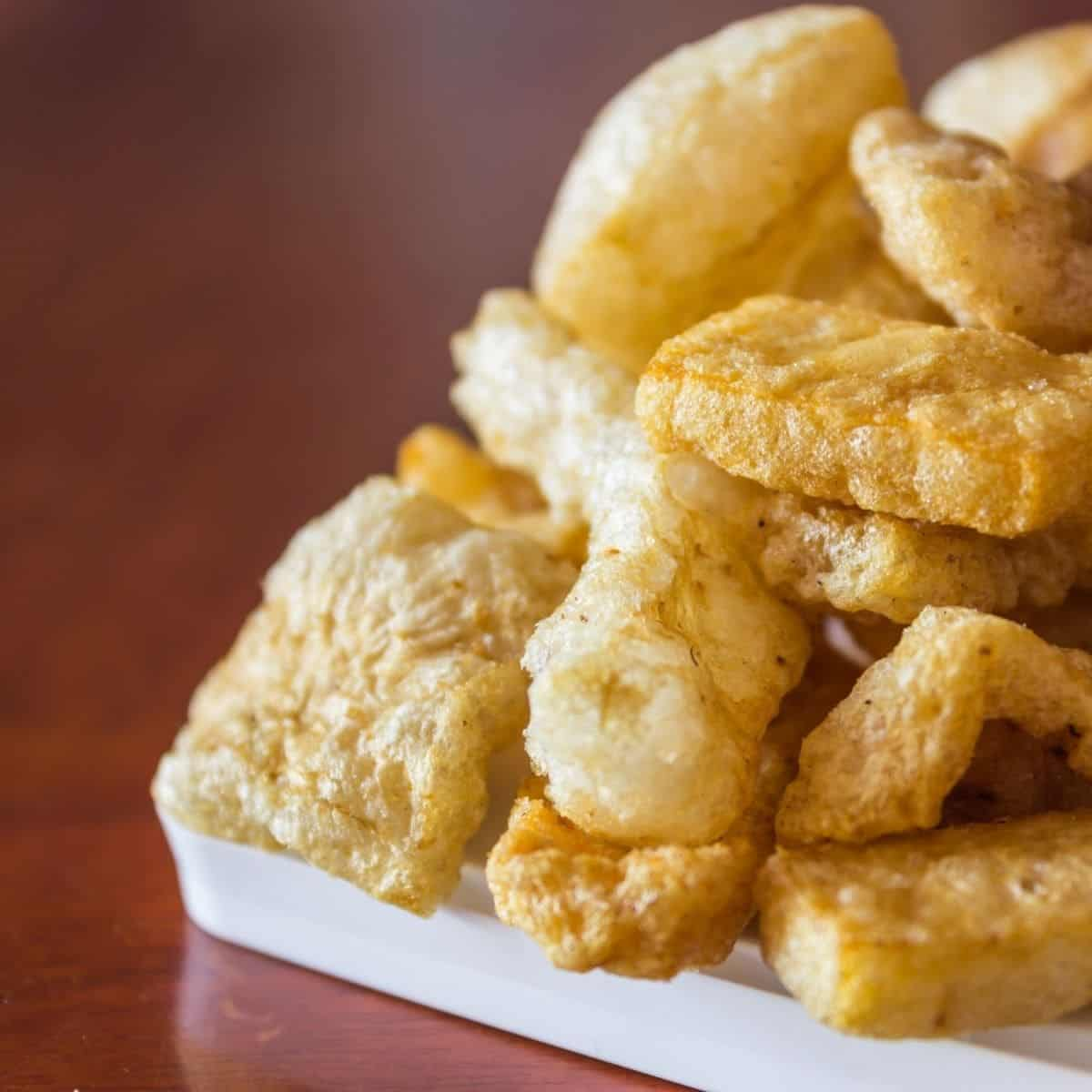 pork rinds for keto on a plate