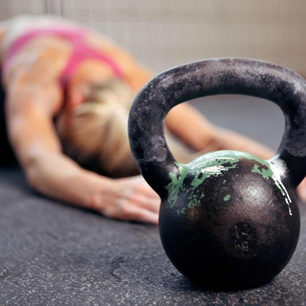 woman with kettlebell